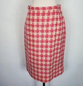 1960s Bobbie Brooks Pink & Ivory Wool Lined Skirt